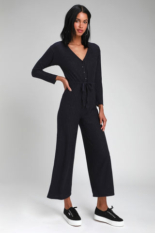 Saylor Navy Blue Ribbed Knit Long Sleeve Jumpsuit - Lulus
