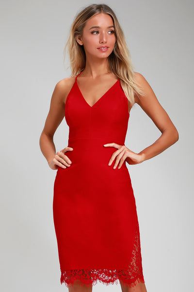 Only Want You Red Lace Bodycon Midi Dress - Lulus
