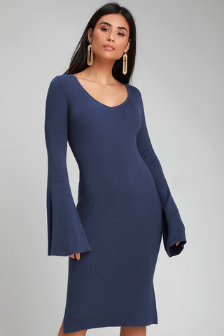 Jourdaine Navy Blue Bell Sleeve Sweater Dress - Lulus
