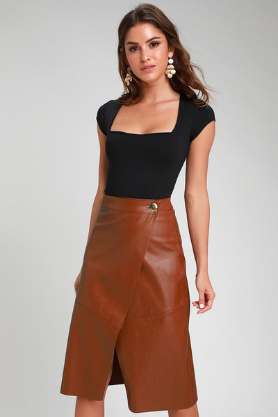 New Orleans Camel Vegan Leather Wrap Midi Skirt - Lulus