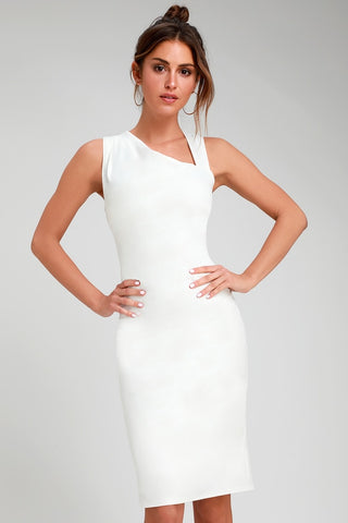 Contemporary Chic White Asymmetrical Neckline Bodycon Dress - Lulus
