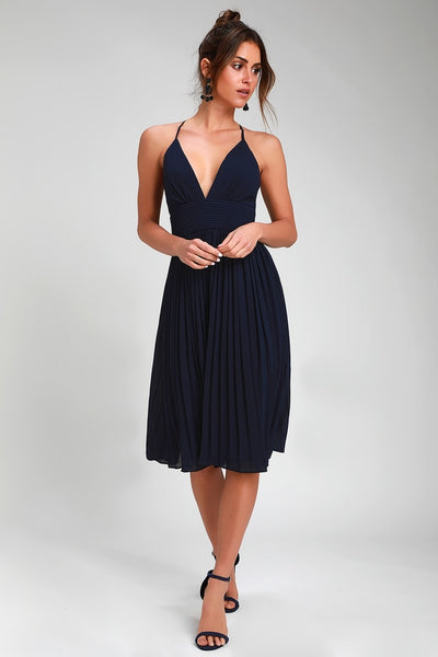 Love Me To The Moon Navy Blue Pleated Midi Dress - Lulus