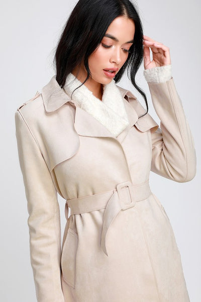 Collin Light Beige Vegan Suede Trench Coat - Lulus