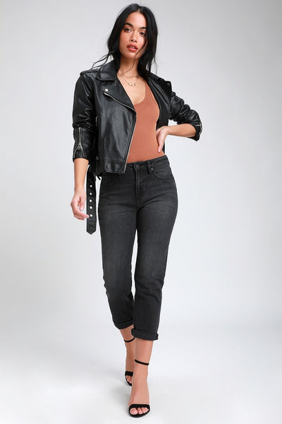 Tracey Washed Black High Rise Straight Leg Cropped Jeans - Lulus