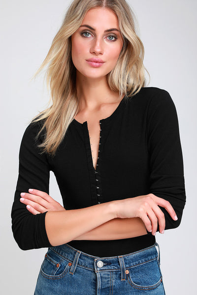 Hook Me Up Black Hook and Eye Ribbed Long Sleeve Top - Lulus