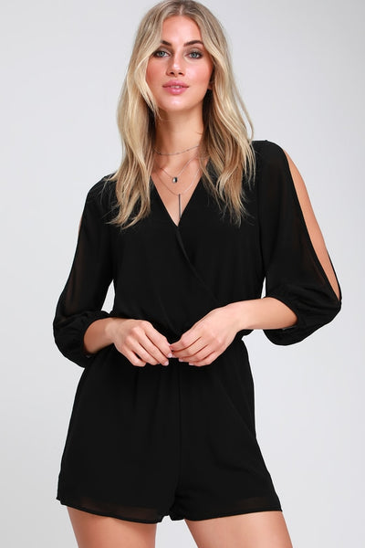Luck and Love Black Long Sleeve Romper - Lulus
