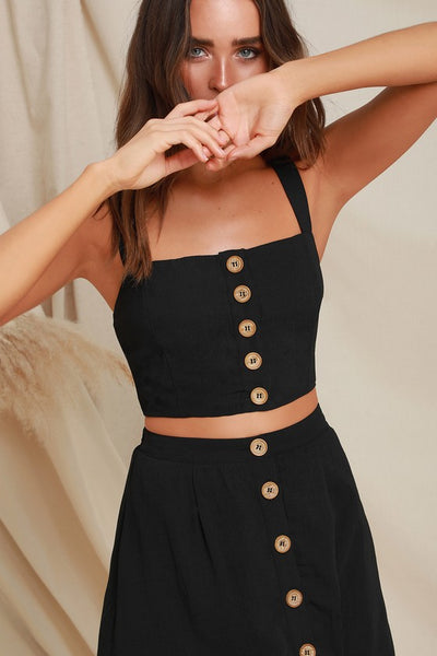 Sweet as Ever Black Two-Piece Midi Dress - Lulus