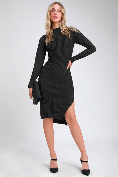 Snuggle Party Charcoal Grey Mock Neck Midi Sweater Dress - Lulus