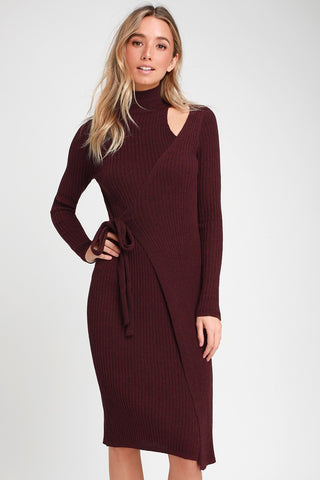 Minuet Burgundy Wrap Midi Sweater Dress - Lulus