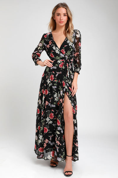 Awakened Black Floral Print Chiffon Maxi Wrap Dress - Lulus