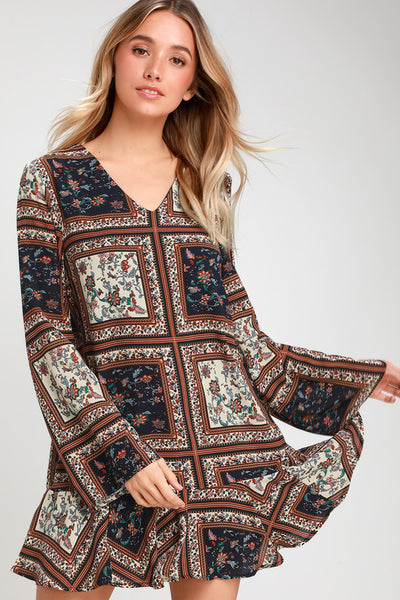 Crack a Smile Cream and Navy Multi Print Long Sleeve Shift Dress - Lulus