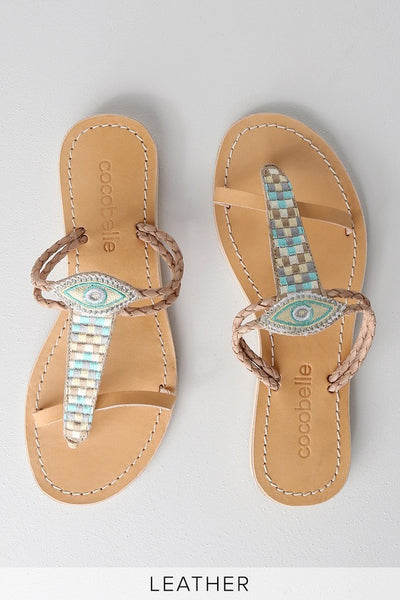 Cali Nazar Teal Blue Multi Leather Flat Sandal Heels - Lulus