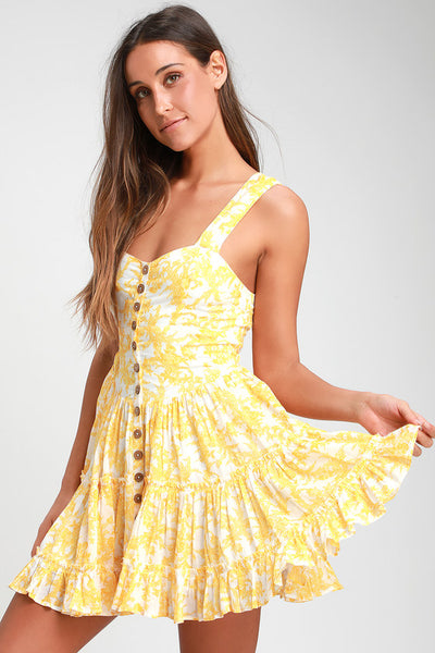 Dance On the Blacktop Yellow Floral Print Mini Dress - Lulus
