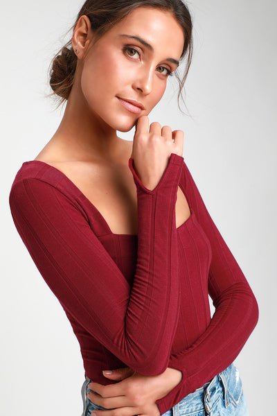 Beside Me Wine Red Long Sleeve Square Neck Bodysuit - Lulus