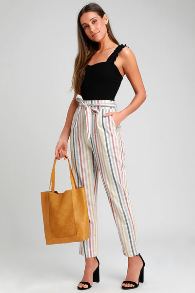 Castaway Island Ivory Multi Striped Pants - Lulus