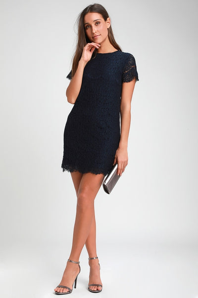 Take Me to Brunch Navy Blue Lace Shift Dress - Lulus