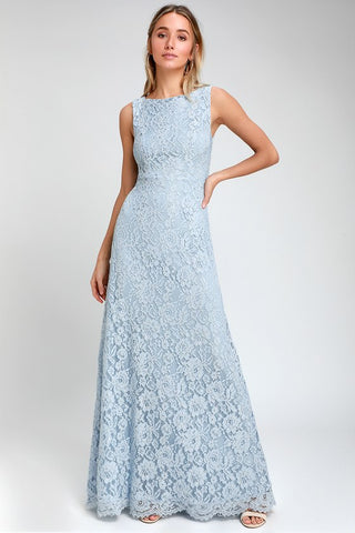 Brilliant Babe Light Blue Lace Maxi Dress - Lulus