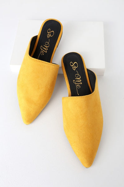 Katha Mustard Yellow Pointed-Toe Slides - Lulus
