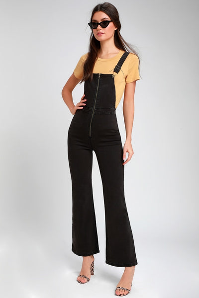 Paloma Black High-Waisted Wide-Leg Overalls - Lulus