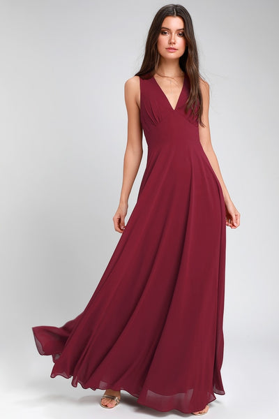 Here for Love Burgundy Sleeveless Maxi Dress - Lulus