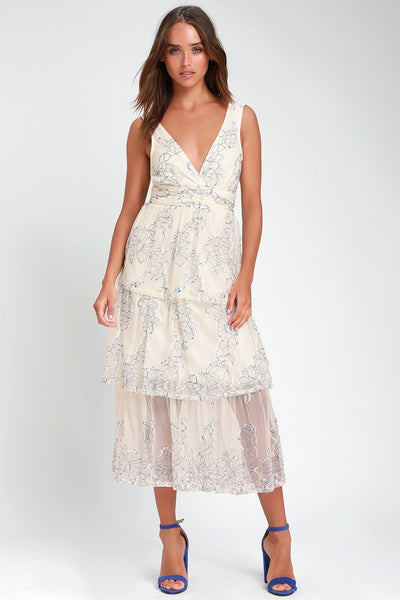 Viviana Blue and White Embroidered Lace Midi Dress - Lulus