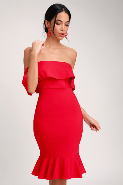 Confidence Boost Red Off-the-Shoulder Bodycon Dress - Lulus