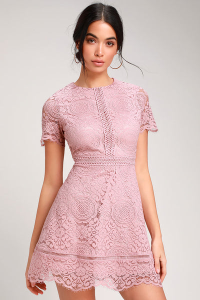 Dinner For Two Mauve Pink Lace Short Sleeve Dress - Lulus