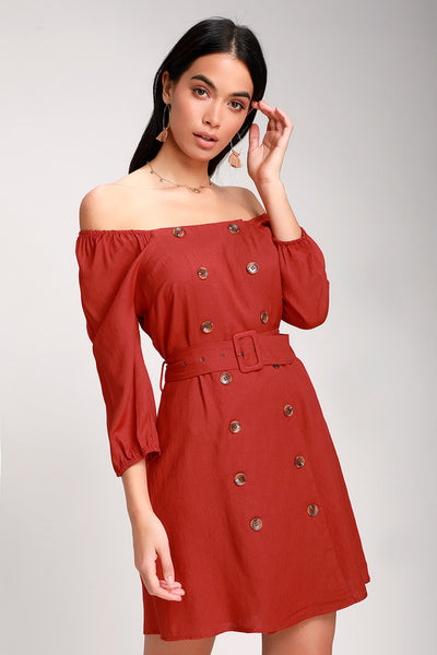 Fell In Love Rust Red Button Front Off-the-Shoulder Dress - Lulus