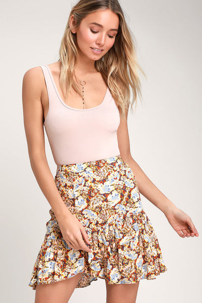 Nadia Yellow Floral Print Ruffled Wrap Mini Skirt - Lulus