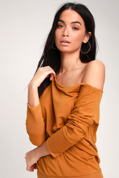 Travis Rust Orange Long Sleeve Sweater Top - Lulus