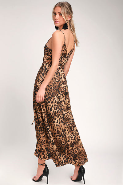 Wildly Wonderful Leopard Print Satin Maxi Wrap Dress - Lulus
