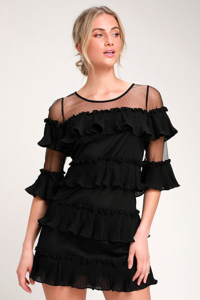 Wynter Black Ruffled Mini Dress - Lulus