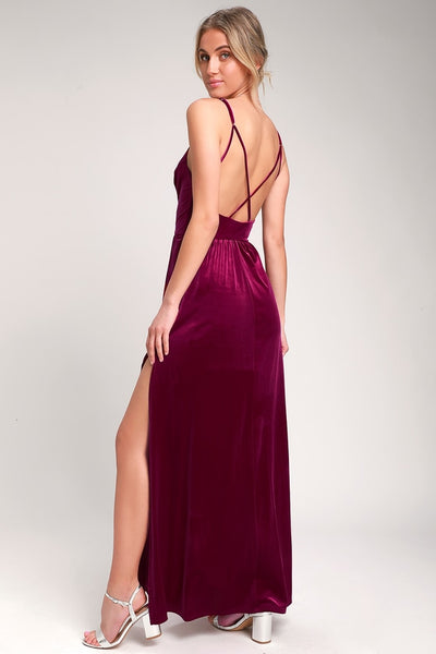 Final Song Magenta Velvet Maxi Dress - Lulus