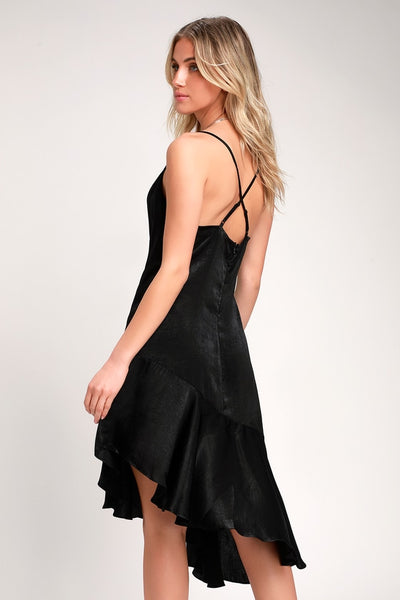 Need Your Love Black Satin Asymmetrical Slip Dress - Lulus