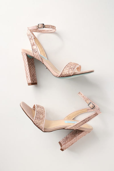 Kani Pale Nude Embroidered Ankle Strap Heels - Lulus