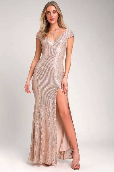 Catching Compliments Rose Gold Sequin Maxi Dress - Lulus