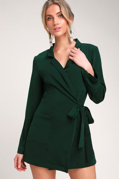 Hollywood Nights Forest Green Blazer Romper - Lulus