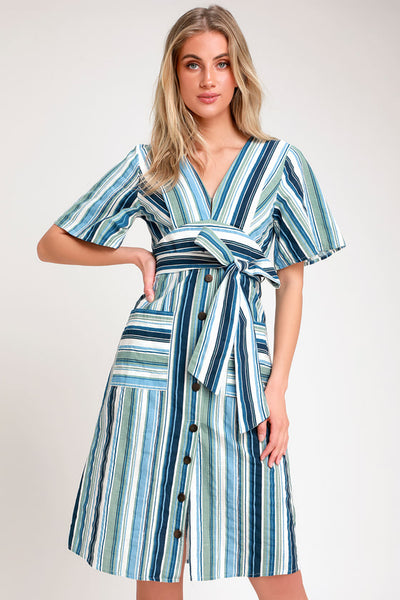 Tahani Blue and White Striped Button-Front Midi Dress - Lulus