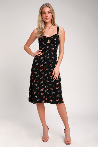 Are You Mine? Black Floral Print Tie-Front Midi Dress - Lulus