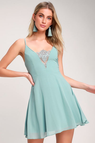 One and Only Dusty Blue Lace Skater Dress - Lulus