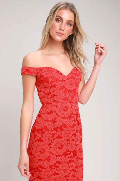 Swept Up Red Lace Off-the-Shoulder Maxi Dress - Lulus