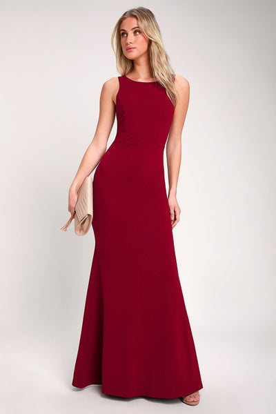 Dream About You Burgundy Backless Maxi Dress - Lulus