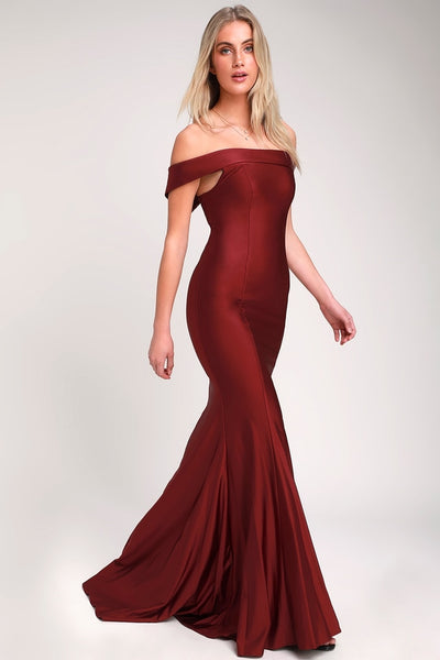 So Enchanted Burgundy Off-the-Shoulder Maxi Dress - Lulus