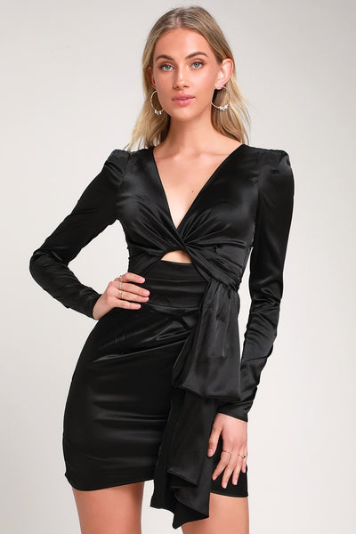 Pulse of the Night Black Satin Cutout Mini Dress - Lulus
