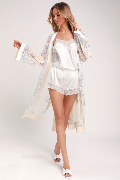 Treat Yourself Ivory and Blue Sheer Lace Robe - Lulus