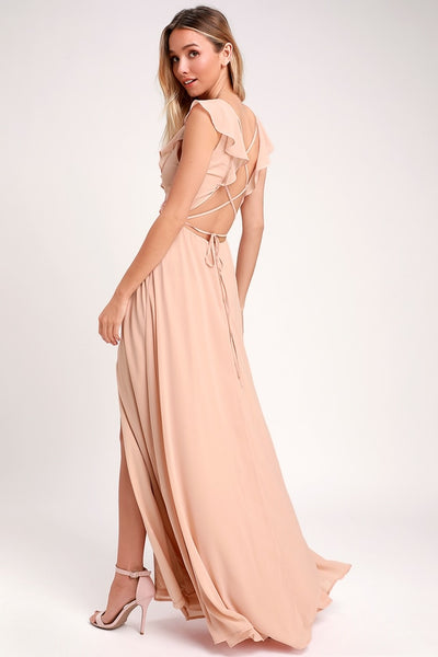 Feel the Rush Blush Ruffled Lace-Up Backless Maxi Dress - Lulus