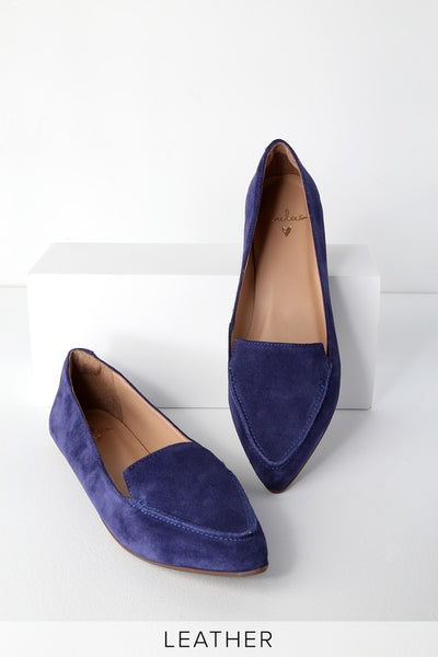 Emmy Leather Navy Suede Pointed-Toe Loafers - Lulus