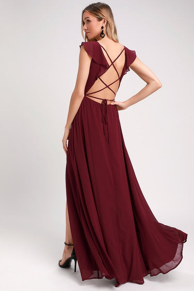 Feel the Rush Burgundy Ruffled Lace-Up Backless Maxi Dress - Lulus