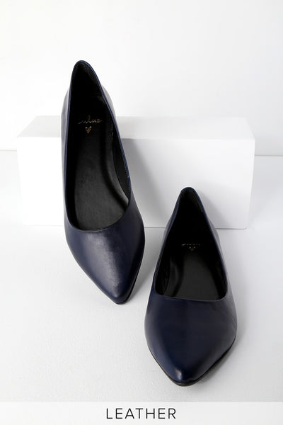 Holly Leather Navy Pointed Toe Flats - Lulus
