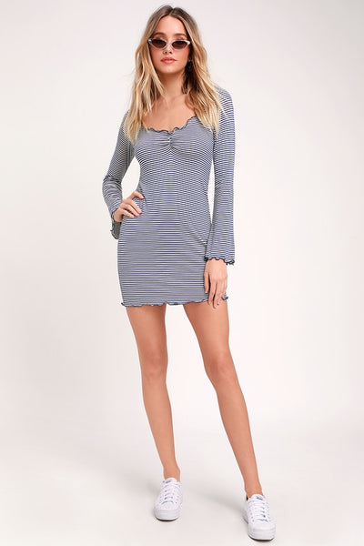 Pucker Blue and White Striped Long Sleeve Bodycon Dress - Lulus